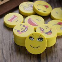 Wholesale art erasers - Random Type!! 120Pcs Emoji Shaped Rubber Pencil Eraser Students Kids Stationery Toys Prize Supplies