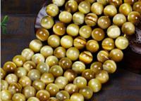 gelbe lose perlen großhandel-2018 heißer Verkauf natürlicher gelber Tigerauge Stein lose Perle rotes Tigerauge goldenes Tigerauge diy Halbzeug Schmuckperle