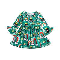 Wholesale rainbow color baby clothes for sale - Group buy Baby girls rainbow letter print green dress children Flare Sleeve princess dresses cartoon Spring Autumn Boutique kids Clothes C5580