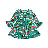baby-karikatur-druckkleid groihandel-Baby Mädchen Regenbogen Brief drucken grünes Kleid Kinder Flare Sleeve Prinzessin Kleider Cartoon Frühling Herbst Boutique Kinder Kleidung C5580