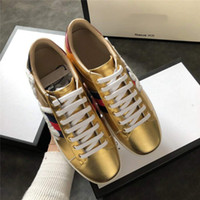 Wholesale gorgeous silver shoes - Men's Women's Fashion Real Leather Letter Embroidery, Gorgeous Gold Color, Low-shoe Sneaker Luxury Brand Casual Shoes