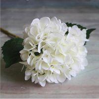 yapay ortancak gövdeleri toptan satış-Yapay Ortanca Çiçek kök buket Başkanı 47 cm Sahte Ipek Tek Gerçek Dokunmatik Ortancalar Düğün Ev Partisi için 8 Renkler dekoratif Çiçekler