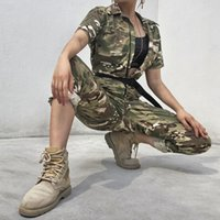 Wholesale womens overall long pants - Camo Long Rompers Womens Jumpsuit Pants Camouflage Cargo Overalls Short Sleeve Summer Military Lady Fashion Playsuit