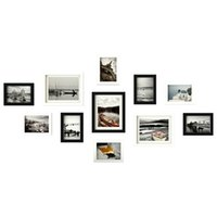 Wholesale framed wall decor sets - Home Room Wall Decor Combination Photo Frames Set Family Picture Holder Wood Picture Frame marco de fotos Wedding Birthday Gift