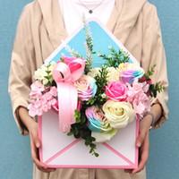 rosas dobradas venda por atacado-35 * 24 * 8 Cm Mini Envelope Criativo Dobre Caixa de Flor Rose Decoração Caixa De Presente Flor Caixas De Embalagem Para Casa Festa de Casamento