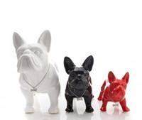 Wholesale china animal figurines resale online - cute ceramic French Bulldog dog statue home decor crafts room decoration dog ornament porcelain animal figurines decorations