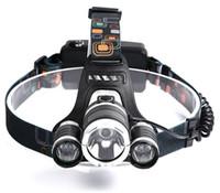 şarj edilebilir araba kafa ışığı toptan satış-Şarj edilebilir Far XM-T6 3Led Far başkanı işık Balıkçılık Lamba Avcılık Fener + 2x18650 pil + Araba / AC / USB Şarj