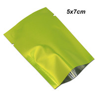 Wholesale vacuum seal food resale online - 5x7 cm Retail Green Open Top Heat Seal Mylar Bag with Notch Small Aluminum Foil Vacuum Pouches for Sample Foil Baggies for Powder