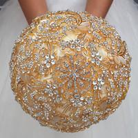 kristall roségold brosche großhandel-Luxuriöse Brautsträuße für Hochzeit Royal Gold Crystal Strass Braut Blumen Brosche Bouquet für Brautjungfern Gold Glitter Buque De Noiva