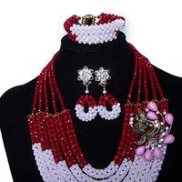 joyería de cristal blanco de la joyería fija al por mayor-5 filamentos púrpura blanco perlas de cristal mujer africana boda nupcial collar llamativo conjunto India boda joyería conjunto nupcial perlas joyería