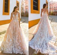Wholesale Elegant Fall Skirts - Elegant CrystaClassy Long Sleeve 2018 Wedding Dresses Sheer V Neck Lace Appliqued Country Bridal Gowns Plus Size Custom Made Wedding Dresses