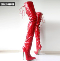Wholesale knee high tie up boots resale online - Women Thigh High Boots Sexy cm High Heeled Metal Thin Heel Woman Pointed toe Cross tied Over The Knee High Cosplay Dancing Shoes