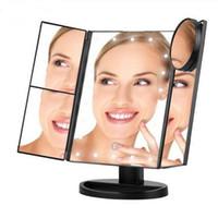 magnify led ışık toptan satış-LED Dokunmatik Ekran 22 Işık Makyaj Aynası Masa Masaüstü Makyaj Büyüteç Aynalar 3 Katlanır Ayarlanabilir Ayna DHL ücretsiz kargo