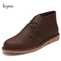 Wholesale casual work boots for men - Leyou Vintage Leather Boots Men Lace Up High Top Shoes Spring Autumn Boots for Men Casual Work Shoes Ankle Fall