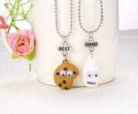 Wholesale free best friend necklaces resale online - Best Friends BFF pendant bead chain necklace fastfood milk cookie biscuit kids jewelry lead nickel free set