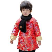 çince ejderha festival kostümleri toptan satış-Çin Bahar Festivali Çocuk Ceket Erkek Giysileri Ejderha Kırmızı Parti Kostüm Bebek Boys Aşağı Ceketler Çocuklar Kıyafet Kabanlar Kapitone Elbise