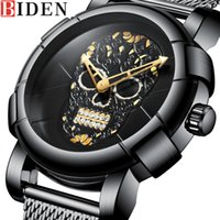 cráneo deportivo relojes al por mayor-BIDEN Hombres Reloj Top Brand Luxury Sport Mens Watches Skull Pattern Acero inoxidable Army Business Fashion Quartz Male Clock