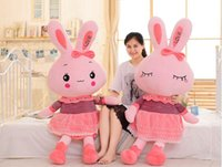 Wholesale huge love dolls online - huge cm pink skirt love rabbit plush toy soft doll hugging pillow Christmas gift b1222