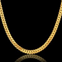Wholesale Gold Snake Link Necklace - Snake Choker Long Chain Necklace 18K Yellow Gold Filled Jewelry Wholesale 2MM 5MM 7MM Gift For Men Cuban Link Chain HipHop Free Shipping