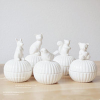 Wholesale Small Ceramic Bowls Wholesale - Wholesale- White ceramic small animal jewelry box stud earring necklace accessories storage box Ceramic Sugar Bowl Canister