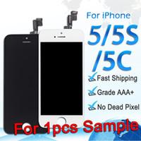 orden iphone lcd al por mayor-Pantalla LCD para iPhone 5 5S 5C Pantalla táctil Digitalizador Ensamblaje completo Piezas de reparación de repuesto para orden de muestra envío gratis
