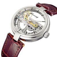 наручные часы оптовых-FORSINING Men Cool Unique Design Hollow Out Automatic Skeleton Watch Leather Transparan Mechanical Wrist Watch Relogio Masculino