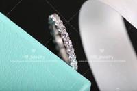 popüler takı tasarımları toptan satış-BOX Gelin için bayan Tasarım Kadınlar Partisi Düğün Lüks Takı için popüler moda markası 925 GÜMÜŞ Tam Elmas Yüzük