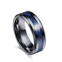 ingrosso bande blu di nozze di tungsteno-Blue Groove Black Carburo di tungsteno Dragon Ring Men Anelli di fidanzamento Wedding Band Marchio di moda maschile