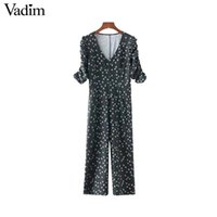 Wholesale Vintage Playsuits - Vadim women vintage V neck floral jumpsuits pleated short sleeve fashion rompers retro female casual chic playsuits KZ1214