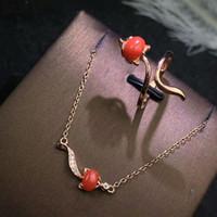 серьги из красного коралла оптовых-shilovem 925 sterling silver Natural red coral pendants rings stud earrings fine Jewelry trendy new send necklace ctz4657013agsh