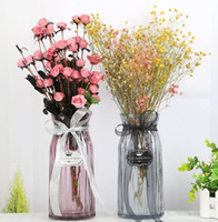 Wholesale home decoration flower glass vase - glass vase transparent Colorful vase flower inserter creative modern minimalist home decoration jewelry Tabletop Vase GGA687 20pcs