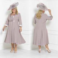 más tamaño vestido de la ocasión especial corto al por mayor-2018 Chic Plus Size Vestidos para madre de la novia con chaqueta larga Vestidos de noche para invitados de boda de la longitud del té