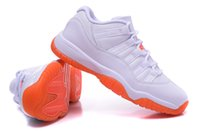 Wholesale lace binding - Outlet women tics Comfort Sport Lightweight Shoes\Outlet women 11s Classic Cloth binding XI basketball leather white orange shoes Athletics