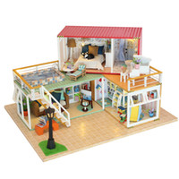 Wholesale led name lights - DIY DollHouse Container Home Miniature With Furnitures LED Light Building Model Wooden Doll House Toys Gift YOUR NAME 13841A