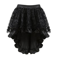 ingrosso pannello esterno in pizzo-Merletto nero multistrato vittoriano costumi burlesque Gothic Steampunk abbigliamento gonna in chiffon arruffato per le donne corsetto di corrispondenza