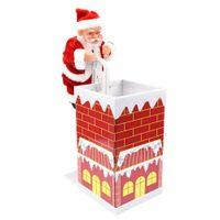 batteriebetriebene weihnachtsspielzeug großhandel-48pcs / lot batteriebetriebener reizender kletternder Kamin Weihnachtsmann Weihnachtsverzierung gegenwärtige Dekoration erfreuliches Geschenk Spielzeug Großverkauf