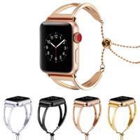 banda de metal para reloj al por mayor-Correa de acero inoxidable de lujo para Apple Watch Band 42mm 38mm Enlace pulsera Correa de reloj para IWatch 3/2/1 Metal Muñequera