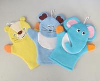 Wholesale hand puppet gloves for sale - Group buy Baby Sponge Bath Rub Mitt Kids Infants Bath Brush Animals Shape Bushtub Glove Hand Puppets And Bath Towel Bathroom SN1857