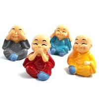 Wholesale fairies statues - Miniature Monks figurine Bonsai Decor Mini Fairy Garden cartoon character figure statue Model anima Resin craft ornaments 4~5cm