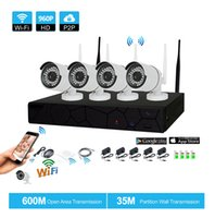 Wholesale Nvr Cameras - 4CH CCTV System Wireless 960P NVR 4PCS 1.3MP IR Outdoor P2P Wifi IP CCTV Security Camera System Surveillance Kit