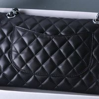 Wholesale quilted leather handbag black - Women Classic Lambskin   Caviar Leather Double Flaps Bag Quilted Flap Chain Plaid Gold   Silver Chain Handbag Jumbo Medium 25.5CM