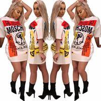 vestido de bainha de cor nobre venda por atacado-Moda casual t shirt dress 2018 novo desgaste da rua das mulheres Long Tops Personagem impressão Mini vestido de festa curto Manga Curta Vestidos Soltos Vestidos