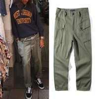 Wholesale Mens Wide Leg Trousers - Retro Army Tide Brand Straight Wide Leg Pants Multi-pocket Overalls Mens Quality Casual Long Trousers Green