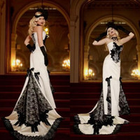 Wholesale gothic wedding dresses bows for sale - Group buy Ivory White and Black Gothic Wedding Dresses Strapless Sleeveless Corset Vintage Lace Bridal Gowns with Bow Court Train High Quality
