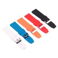 mehrfarbiger gummi großhandel-Silikonkautschuk 16/18/20/22/24/26 / 28mm Bright-Colored Solid Uhr Multi Color Army Uhrenarmbänder Strap Bands Schnalle 18mm
