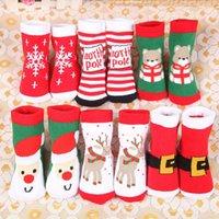 niños zapatillas de navidad al por mayor-Los niños de la navidad calientan los calcetines de la zapatilla Copo de nieve Ciervos Papá Noel Oso Impreso Algodón Bebé Regalo de Navidad Calcetines Jacquard lindos