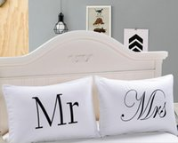 Wholesale pillow shams resale online - Eco Friendly MR and MRS Pillow Case Couple Pillow Shams for Him or Her Christmas Romantic Anniversary Wedding Valentine s Gift