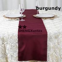 ingrosso corridore bordeaux-Runner da tavolo in poliestere 100% di colore bordeaux, per una decorazione da sposa