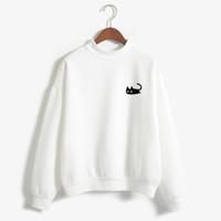 schwarzer rollkragenpullover großhandel-Herbst Lässige Harajuku Kawaii Schwarze Katze Sweatshirts Frauen Langarm Rollkragen Tops Pullover Lustige Karikaturdruck Hoodies