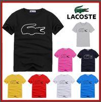 heißes männer-leder-shirt großhandel-S-6XL neues Polo-Krokodilleder Rundhalsausschnitt Kurzarm Herren 1015 # Herren T-Shirt Kurzarm-Baumwolle Polo-Shirt heißen Herrenbekleidung
